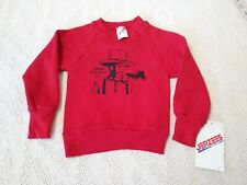 VINTAGE 80'S CHILD'S AMISH COUNTRY PA SWEATSHIRT NWT 2T XS RED BOY HORSE BUGGY