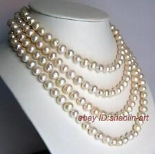 7-8mm, charmant, blanc, Akoya, perles d'eau douce, bijoux, collier, long, 160cm