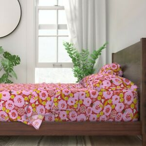 Summer Abstract Flower Mod Pink Red 100% Cotton Sateen Sheet Set by Roostery