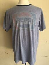 PEPSI COLA Soda Distressed Vintage Blue & Red Logo Ringer T-Shirt Men's Large