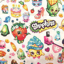 Shopkins Party Fabric Packed Allover White Cotton by the yard