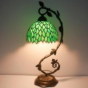Green Leaf Tiffany Style Table Lamp Bedroom Livingroom Light Stained Glass Desk