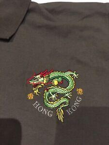 Vintage China Dragon Shirts XL 'Hong Kong' Dragon Polo Shirt Army Green VGC