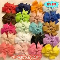 20x Cute Baby Girls Hair Bows Boutique Hair Grosgrain Ribbon Without Clip