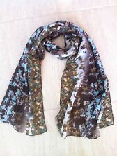 Multi Scarf -chiffon type Butterfly Print Turquoise / White Brown Scarf xx