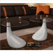 2pc Modern High Gloss Glass Top Drop Coffee Table White Side Dinner Office Home✓