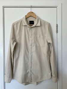 Mens Corduroy Long Sleeve Shirt Cream Size Small Great Condition