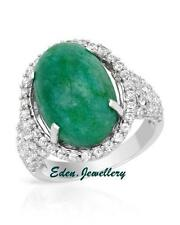 US$1540 Dazzling New Ring 10.06ctw Sapphire Cr Emerald Sterling Silver 80% OFF