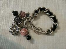 Bracelet Silver Tone Metal Link Chain Chunky Black Ribbon Charms