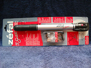 **NEW ZEFAL TX SWITCH ALLOY MINI PUMP, BLACK & SILVER WITH FRAME ATTACHMENT #1**