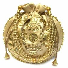 HANDMADE INDIAN ETHNIC CLUTCH SILK POTLI BATWA POUCH BAG WOMEN GIRLS LADIES