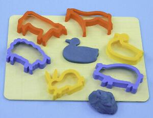 FARM ANIMALS Plastic Cutters (6) - Modelling Dough, Cooking Children Kids Craft