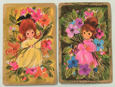 Playing Swap Cards = 2 Gold Border Girls Cute  70's