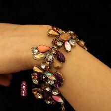 Bracelet Fleur Multicolore Violet Rose  Retro Original Soirée Mariage Cadeau CT2