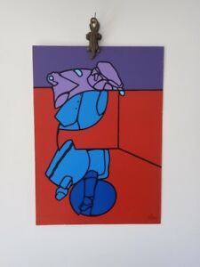 Valerio Adami Pop Art Abstract Vintage Lithographic Poster 1970sItalian Painter