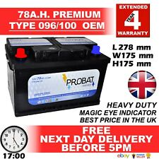 096R / 086 Powerline Car Battery 12V 78a fits many Chrysler Jeep Nissan Vauxhall