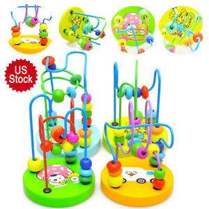 Mini Around Beads Wire Maze Roller Coaster Wooden Educational Game Toys Gift US