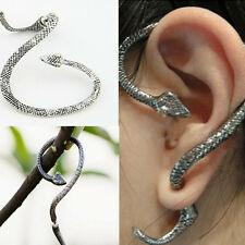 1PC Gothic Punk Snake Wind Temptation Silver Pierced Ear Stud Cuff Earring Gift