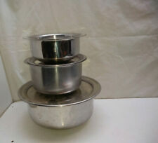 Multi-Ply Stainless Saucepan Storage Prepping Mixing Bowl Serving Dish Oven Lids