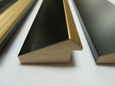 Offcuts 64x47cm (2m) 39x21mm Black & Gold Reverse Wooden Picture Frame Moulding