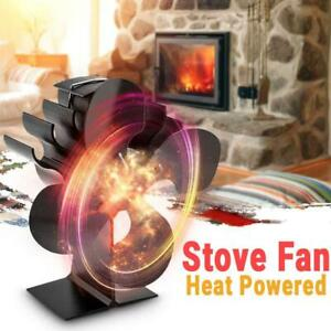 4-Blade Heat Powered Stove Fan Silent Fireplace Heater Eco Friendly Efficient AU