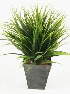 Home Office Artificial Plant - Grass Bush 30cm High - Black  Pot