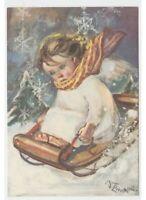 Tarjeta Postal Navidad Vintage Nieve Ángel Niño Trineo Zandrino No Viaggiata