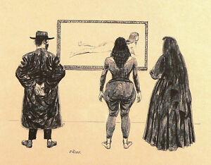 Vintage Art Painting Jewish Rabbi, Christian Nun, Naked Woman, Judaica Religious
