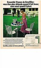 PUBLICITE  1974   GROSFILLEX   ensemble TRIANON  salon de jardin