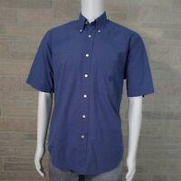 Nautica Men's SMALL Blue Pocket Front Button Down Collar SS Cotton Shirt