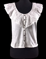 American Eagle Outfitters Womens Sz L White Eyelet Sleeveless Crop Top Shirt