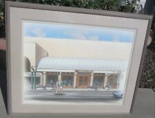 COOL! VINTAGE ARCHITECTURAL WATERCOLOR PAINTING MID CENTURY MODERN EDDIE BAUER