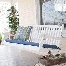 4 Foot White Blue Cushion Patio Hanging Porch Swing Outdoor Home Furniture Deck
