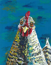 Colorful Chicken art Print, rooster art 11x14, chicken print signed by artist