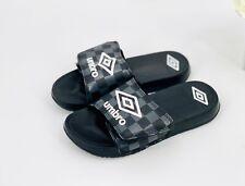 NEW Umbro Boys' Heritage Silver Logo Athletic Slide Sandal Black Size Small(13)