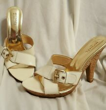 Michael kors womens shoes size 8.5 M mules heels ivory leather cork wrapped