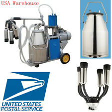 Electric Milking Machine Fr Farm Cows Goat Milk Bucket 2Plug 25L Stainless Steel