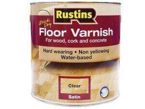 RUSTINS QUICK DRY FLOOR VARNISH CLEAR SATIN 1LTR/2.5LTR/5LTR  HARD WEARING
