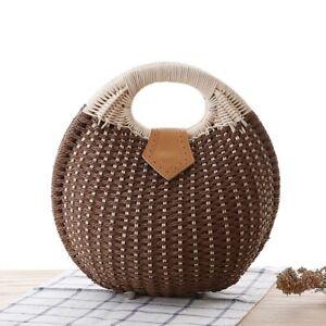 Woman Rattan Bag Purse Clutch Small Round Straw Fashion Pouch Handbag