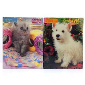 Golden Jigsaw Puzzle Vintage Crafty Kitten & Garden Pup 100 Pieces