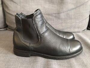 Jil Sander Herren Chelsea Boots dickes Schwarzes Leder