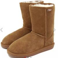 EMU Australia Bronte Lo Suede Leather 100% Merino Wool Lined Boots Size 7 Eu 38