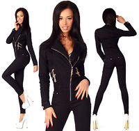 Sexy Womens Black Denim Jeans Playsuit Jumpsuit Overall With Zippers A 681