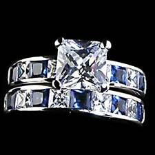 7mm_SAPPHIRE BLUE & CLEAR CZ WEDDING SET RING_SZ-10__NF 925 STERLING SILVER