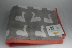Anorak ~ KISSING SWANS ~ hand towel BNWT grey 100% organic cotton