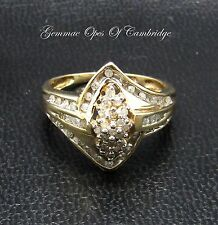 9K Gold 9ct Gold Navette  Cluster Crossover Diamond Ring Size N 3.7g 0.5 carats