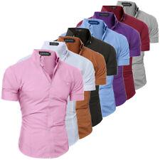 Luxury Men's Slim Fit Shirt Short Sleeve Stylish Formal Casual T-shirt Tops JANE