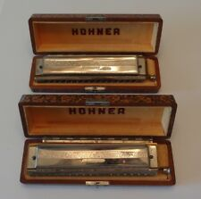 "Vintage PAIR of Hohner 64 Chromonica Model 280 ""C"" 4 Octave w/ Wood Storage Box"