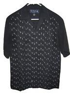 Nat Nast ATOMIC Black 100% Silk Loop Collar ROCKABILLY Short Sleeve Shirt Mens S