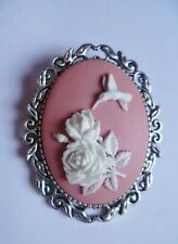 Stunning Pink Hummingbird Cameo Brooch Wedding Pin Pagan